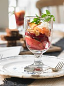 Beetroot salad with apples and nuts