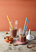 Chocolate milkshakes with almonds