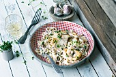 Pasta with king trumpet mushrooms and artichokes