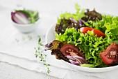 Salatteller mit Tomaten, Zwiebeln und Thymian