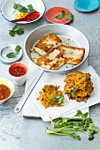 Sweet potato cakes with haloumi and mango chutney