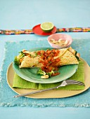 Chicken tortillas with tomato sauce