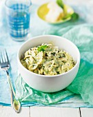Farfalle with turkey and pesto