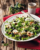 Watercress salad with blueberries and goat's cream cheese