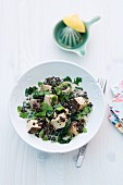 Lentils with spinach, mushrooms and tofu