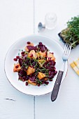 Beetroot salad with pineapple and pomegranate seeds