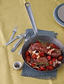 Rump steak with balsamic tomatoes and onions