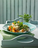 Cress and barley risotto with smoked halibut and lemon carrots