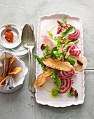 Raw striped beetroot salad with nashi pears