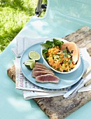 Oriental lentil salad with fried tuna fish steak