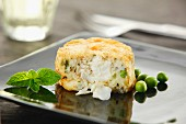 A cod cake with peas and peppermint