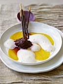 Blueberry sorbet with mango and Prosecco foam