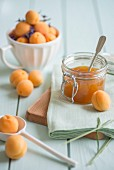 Apricot and lavender jam and ingredients