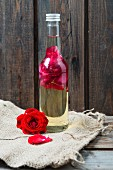 A bottle of rose petal oil