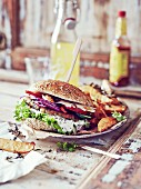 Lentil burgers with rosemary potato wedges