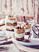 Glasses of apple tiramisu