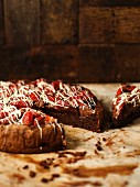 Gluten-free chocolate cake with strawberries