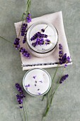 Lavender sugar and lavender flowers