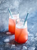Rhubarb, strawberry and raspberry lemonade