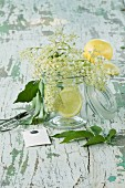 Elderflowers and lemon slices in a glass on a wooden table