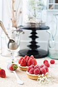 A strawberry tartlet and a raspberry tartlet