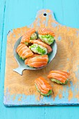 Salmon sushi for cats with rice and peas