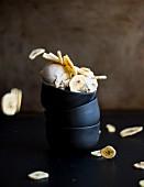 Vegan banana ice cream with banana chips