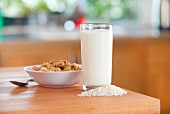 A glass of rice milk, rice and cereals