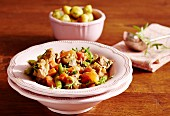 Lamb goulash with vegetables and potatoes