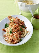 Spaghetti with tomato pesto