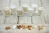 Various types of lactose-free milk in glasses