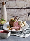 Rack of lamb with dumplings and a fennel salad