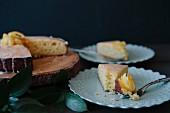 Iced lemon cake, slices removed