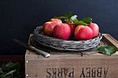 Pink Lady apples in a basket