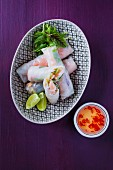 Steamed spring rolls with prawns