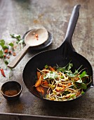 Fresh stir-fried vegetables and bean sprouts