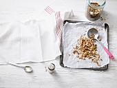Homemade, oven-baked low carb muesli