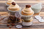 Pecan nut and caramel cupcakes with cream cheese frosting