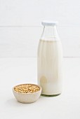 Oat milk in a glass bottle