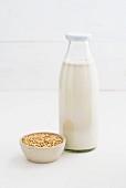 Oat milk in a glass bottle