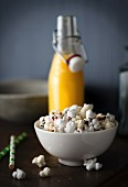 Popcorn and orange juice
