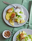 Kohlrabi and pineapple carpaccio with fried scallops