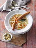Classic potato soup with sausages