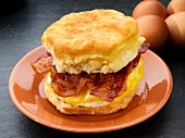 An American biscuit with bacon and scrambled egg (USA)
