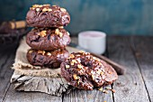 Homemade chocolate bagels on a rustic wooden surface