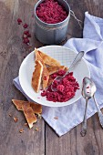 Cherry sorbet with almond cake