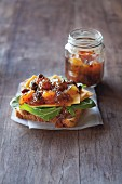 Bread topped with pear chutney and cheese