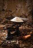 An old pair of kitchen scales and flour