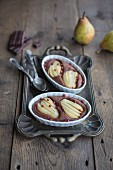 Chocolate bake with pears and pink pepper