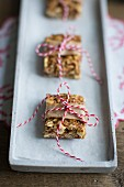 Homemade muesli bars with oats, apples and peanut butter